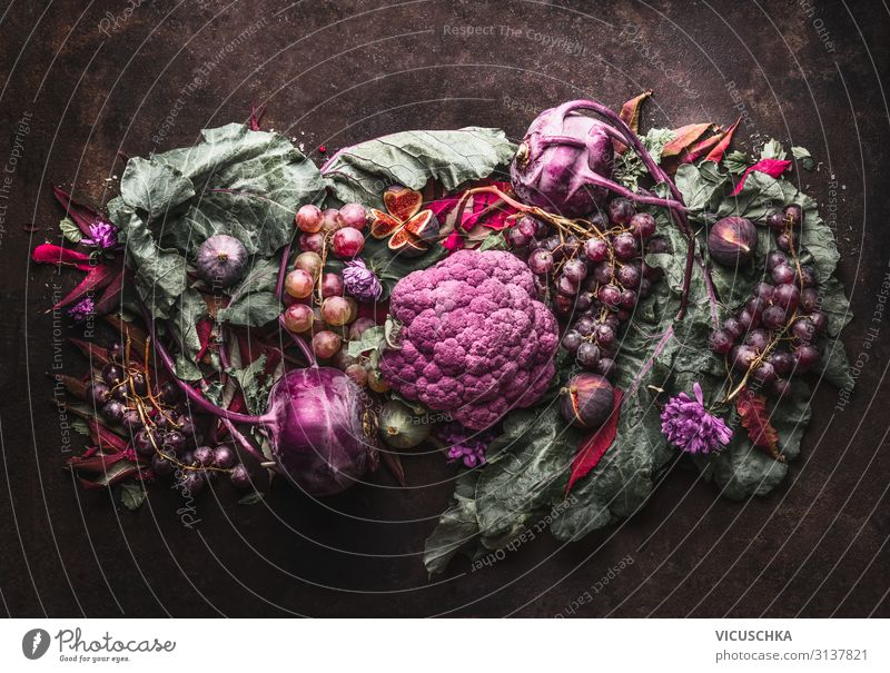 Purple fruit and vegetable composing Food Vegetable Fruit Nutrition Organic produce Diet Lifestyle Style Design Healthy Eating Violet Dark Composing