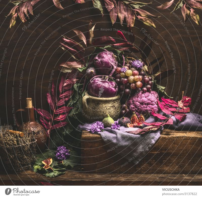 Autumn still life with purple fruits and vegetables Food Vegetable Style Design Healthy Eating Life Living or residing Table Kitchen Still Life Aubergine Vase
