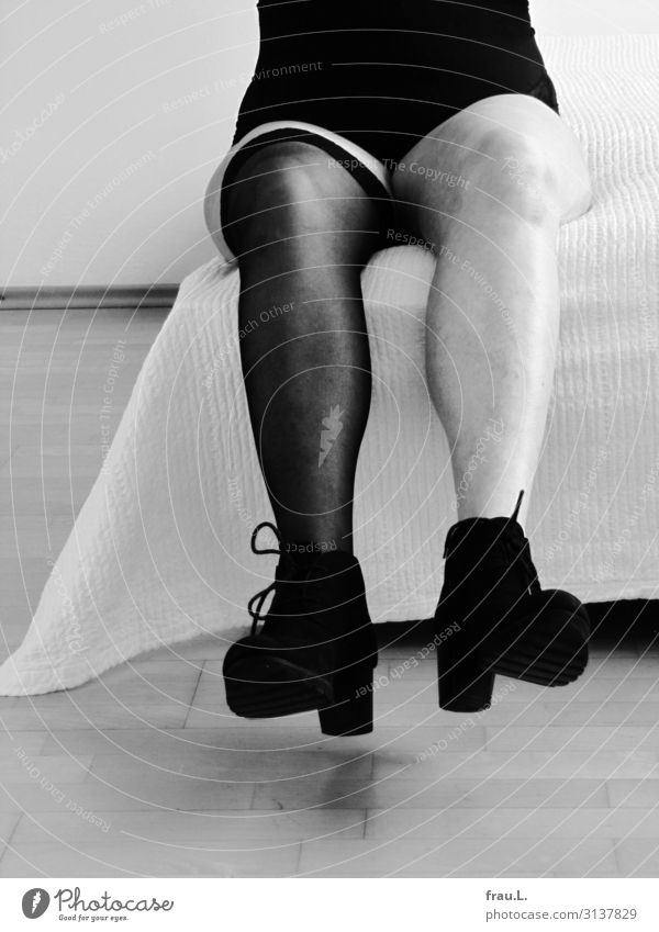 legs Bed Feminine Female senior Woman Legs Feet 1 Human being 60 years and older Senior citizen Stockings Boots Sit Old Brash Free Uniqueness Gray Black White