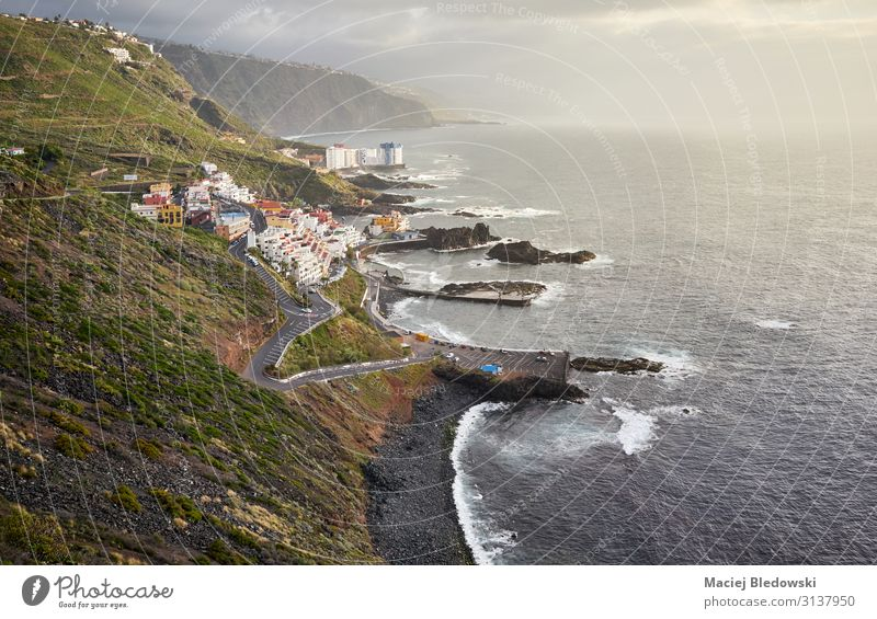 El Pris village on the Atlantic shore at sunset, Tenerife. Vacation & Travel Tourism Trip Adventure Far-off places Freedom Beach Ocean Waves Mountain Hiking