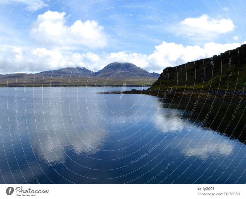 the sea rests still... Scotland Highlands Mountain Ocean Reflection reflection Clouds tranquillity Calm silent Landscape Nature Environment hillock