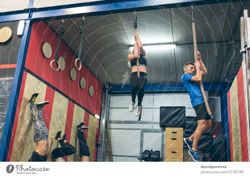 Group training at the box Lifestyle Sports Human being Woman Adults Man Fitness Athletic Authentic Strong Effort Climbing rope cross fit Gymnasium