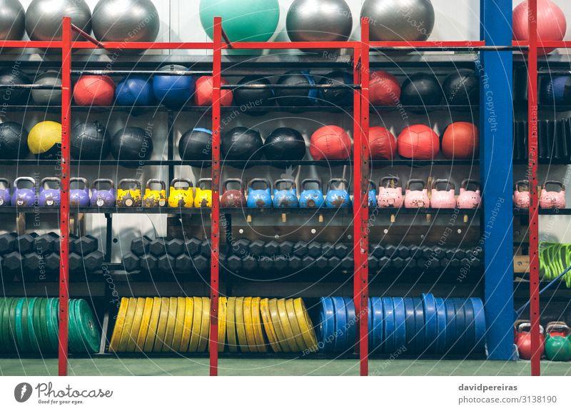 Shelves with sports equipment indoor Sports Ball Fitness sport equipment Gymnasium kettlebells medicine ball Dumbbell weight discs pilates ball box wall ball