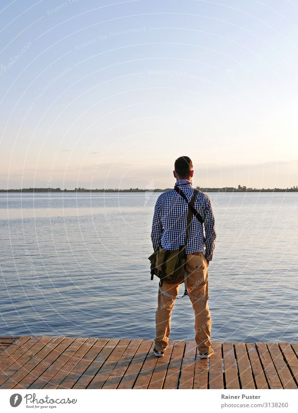 Man Blue Calm Far-off places Adults Style Lake Orange Masculine Free Idyll Stand Uniqueness Lakeside Cloudless sky Harmonious