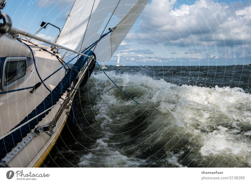 Sailing boat in wind and waves Leisure and hobbies Vacation & Travel Adventure Far-off places Freedom Summer vacation Ocean Waves Aquatics Yacht Sky Clouds