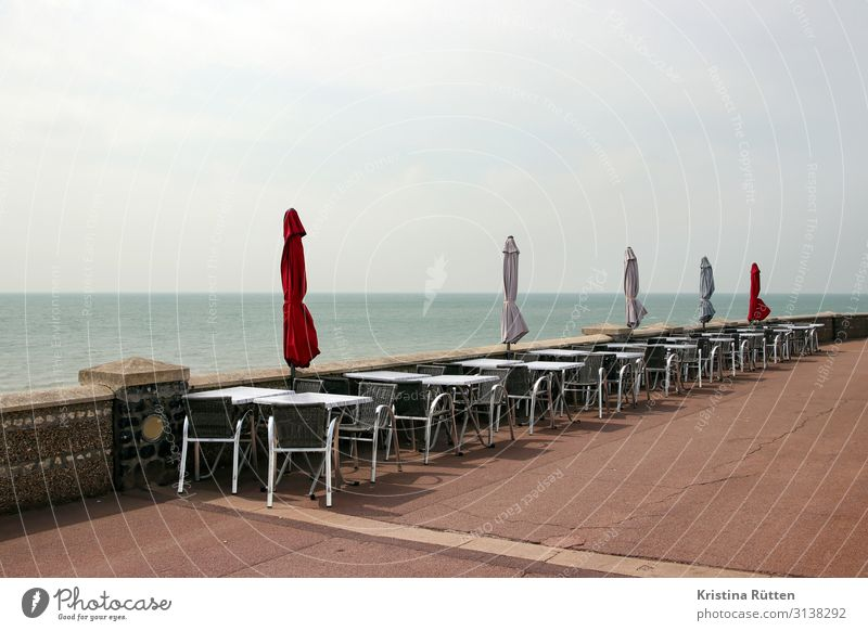 empty terrace by the sea Vacation & Travel Tourism Beach Ocean Chair Table Restaurant Beach bar Gastronomy Water Horizon Coast Lake Le Havre France Europe