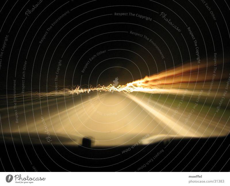 long hard road Light Waves Night Long exposure Street reflector post Car