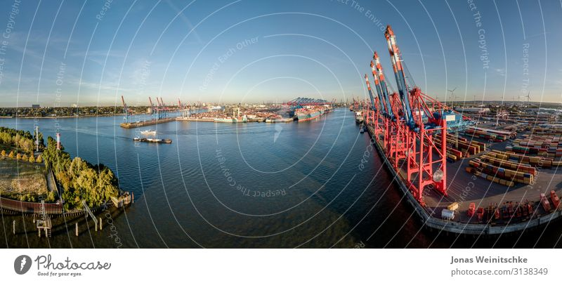 Panorama of a container terminal in Hamburg Environment Landscape Cloudless sky Climate Climate change Beautiful weather Capital city Port City Navigation