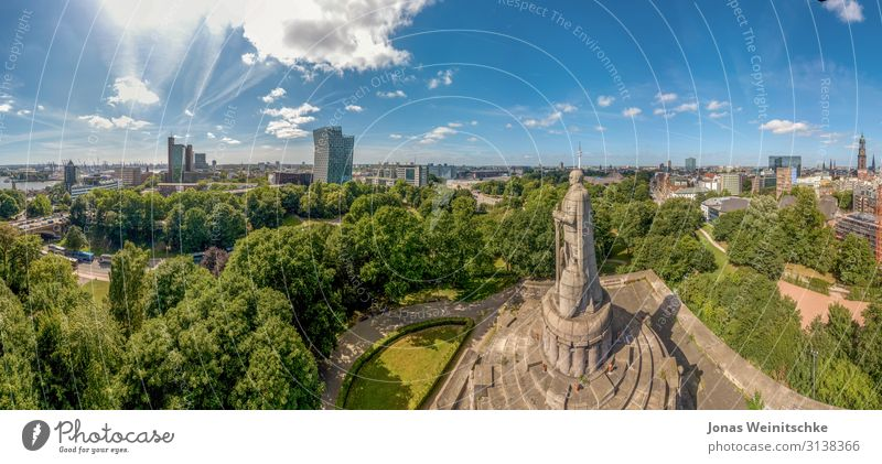 Panorama of Hamburg at the Bismarck Monument Capital city Port City Downtown High-rise Industrial plant Church Park Places Tower Manmade structures Building