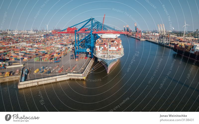 Container terminal from the air Renewable energy Wind energy plant Industry Climate change Navigation Boating trip Container ship Oil tanker Harbour Large Many