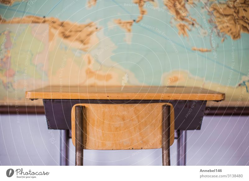 Empty desks at school classroom with world map. Child Old House (Residential Structure) Black Wood School Earth Bright Table Historic Academic studies Chair