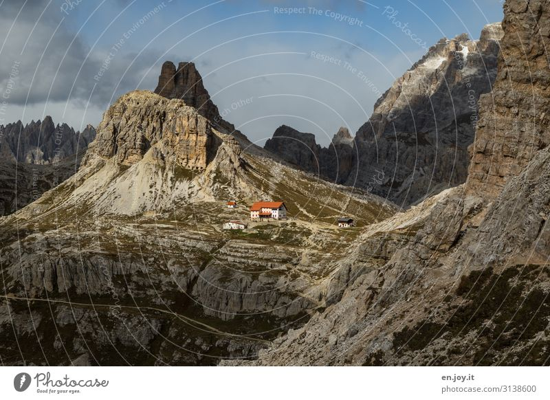 Target almost reached Vacation & Travel Tourism Trip Adventure Far-off places Expedition Mountain Hiking Nature Landscape Rock Dolomites Three peaks South Tyrol