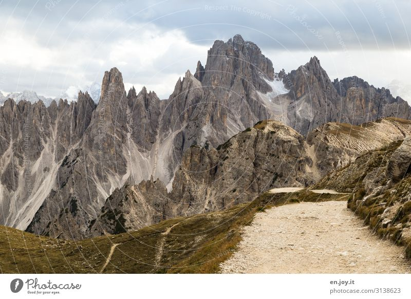 way back Vacation & Travel Tourism Trip Far-off places Expedition Mountain Hiking Nature Landscape Clouds Climate Climate change Rock Alps Dolomites Three peaks