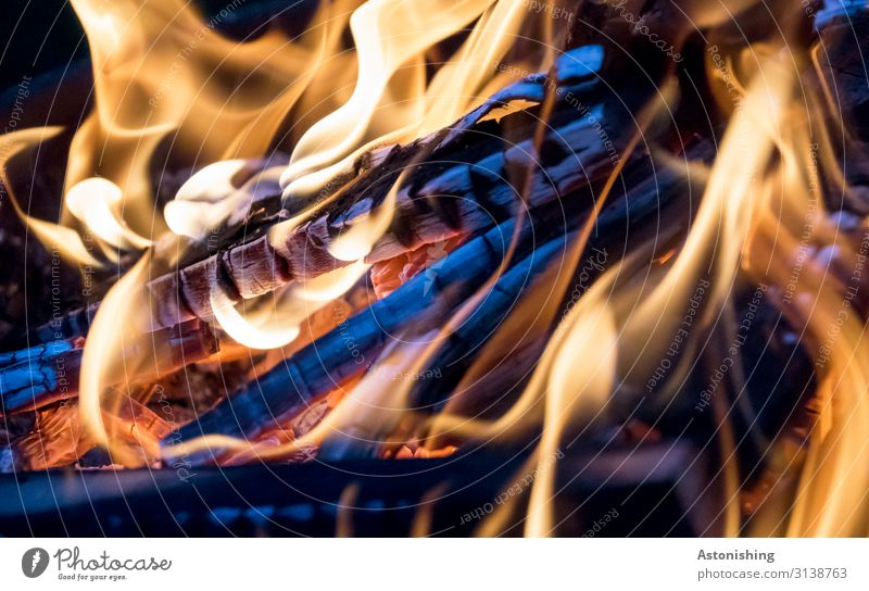 campfire Summer Wood Hot Bright Yellow Black Fire Fireplace Blaze Coal Embers Flame White Barbecue (event) Colour photo Multicoloured Exterior shot Abstract