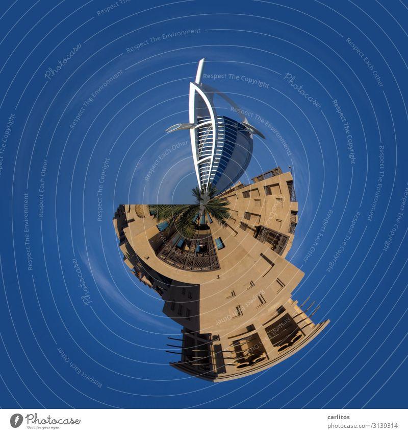 it goes around this world Burj Al-Arab Hotel Dubai little planet tiny world United Arab Emirates Tourism Blue globe Earth Planet High-rise construction boom