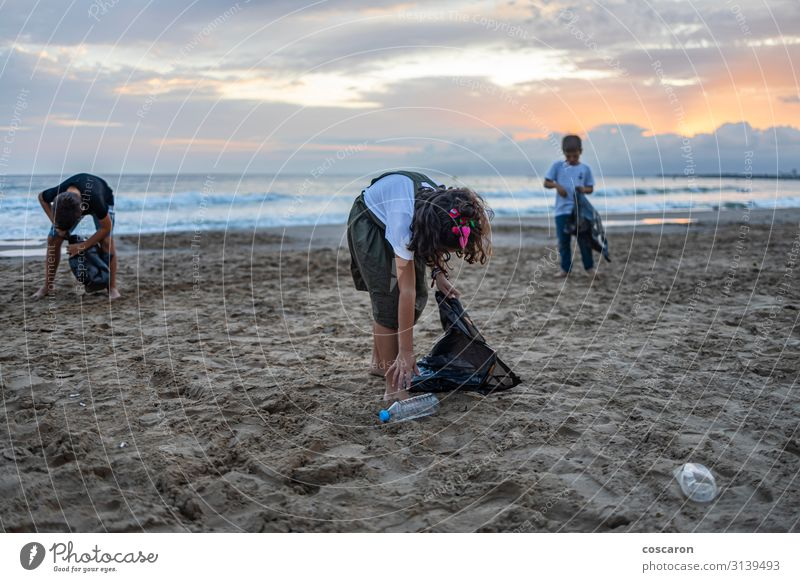 Group of children collecting plastic on a beach Child Human being Vacation & Travel Nature Summer Green Hand Ocean Clouds Beach Environment Coast Happy