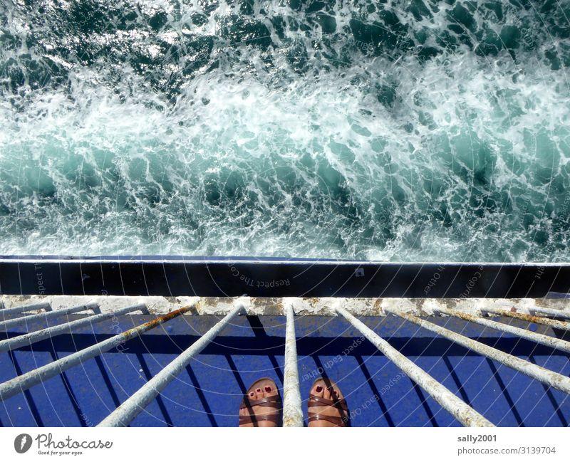 end of vacation... Human being Feminine Woman Adults Feet 1 Summer Waves Navigation Cruise Passenger ship Ferry Watercraft Sandal Observe Vacation & Travel
