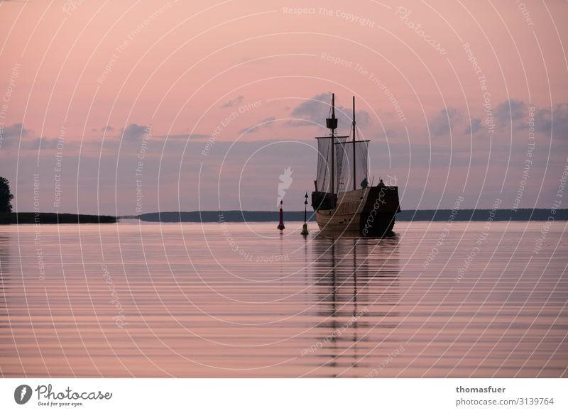 Windjammer, traditional ship, sunset Vacation & Travel Trip Adventure Far-off places Summer Ocean Sky Clouds Night sky Horizon Sunrise Sunset Beautiful weather