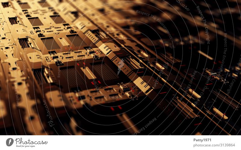 Tech Perspective - 3D Render Computer Hardware Technology High-tech Industry Dark Sharp-edged Warmth Brown Gold Design Equal Complex Precision Surrealism