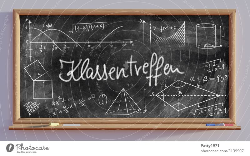 Class Reunion - School Board - 3D Render Education Blackboard Mathematics Physics Sign Characters Digits and numbers Emotions Anticipation Friendship Study