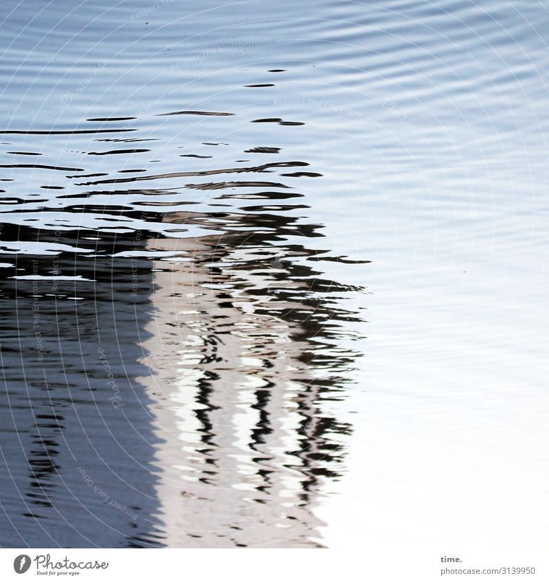 Water sprite out of focus. Sky Beautiful weather Waves River bank House (Residential Structure) Manmade structures Building Line Stripe Illuminate Fluid