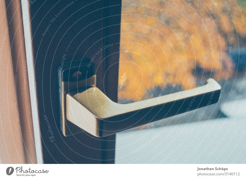 Window handle at the window with view to the outside Office Interior Workplace Home office home office Work and employment View from a window Quarantine at home