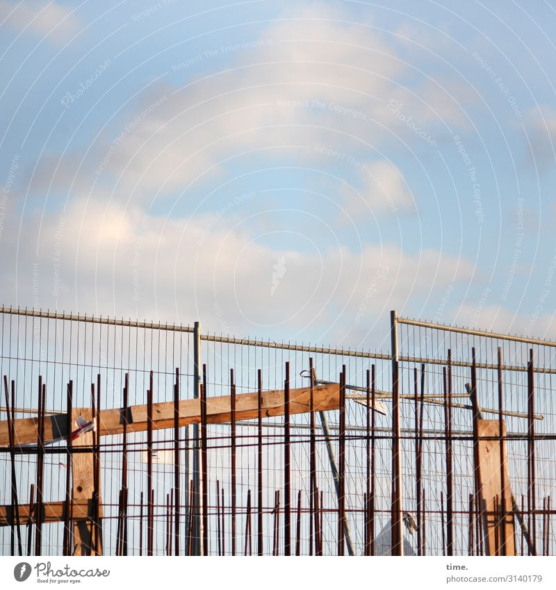 Sky Town Clouds Life Work and employment Change Hamburg Construction site Planning Protection Safety Attachment Fence Concentrate Inspiration Craft (trade)