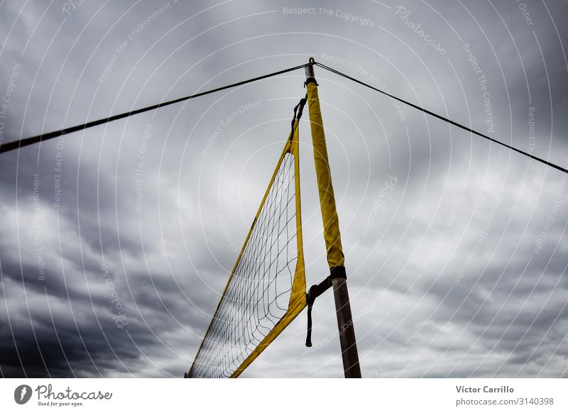 a volleyball net in a cloudy day of autumn Sports Volleyball (sport) Sporting Complex Athletic Authentic Healthy Good Hip & trendy Beautiful Energy Resolve