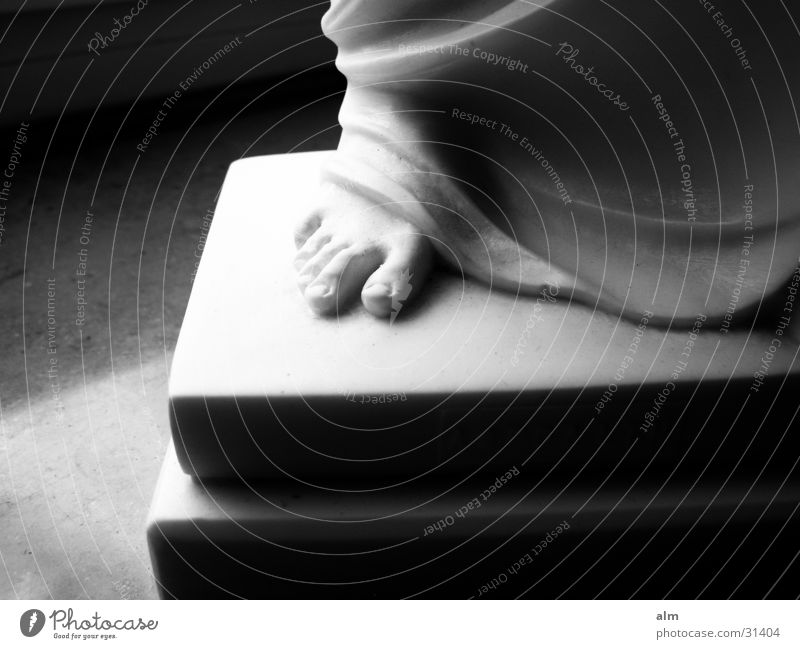 Foot in stone Woman marble Black & white photo Feet