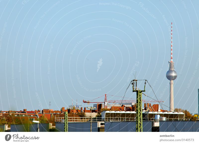 Television tower on the horizon Berlin Town Capital city Germany Skyline Far-off places Horizon Roof Heaven Deserted Copy Space