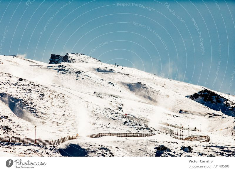 mountain peak in a sunny day of winter. Environment Nature Landscape Climate Rock Mountain Sierra Nevada Peak Exceptional Fantastic Fresh Healthy Cold Natural