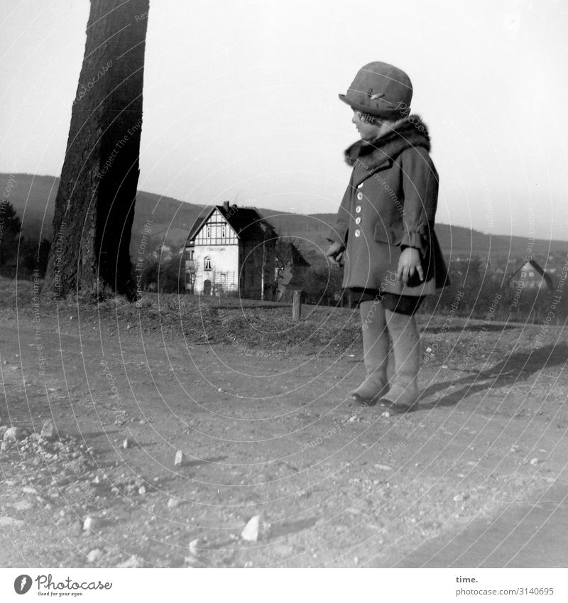 Landscape with girls Feminine 1 Human being Environment Nature Horizon Beautiful weather tree House (Residential Structure) Coat Hat Observe Looking Stand Wait