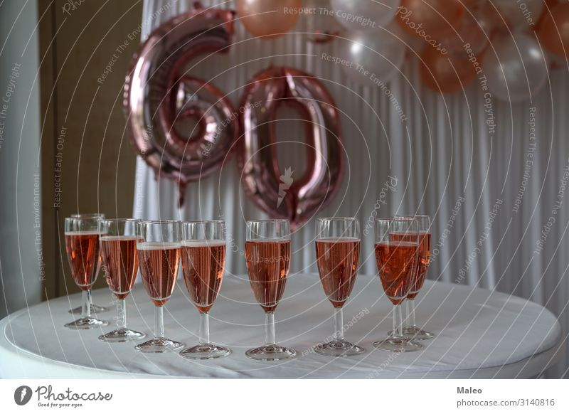 Filled champagne glasses Anniversary Champagne Glass Birthday Feasts & Celebrations Happy Retirement Old Smiling Adults Bright Beverage Drinking Senior citizen