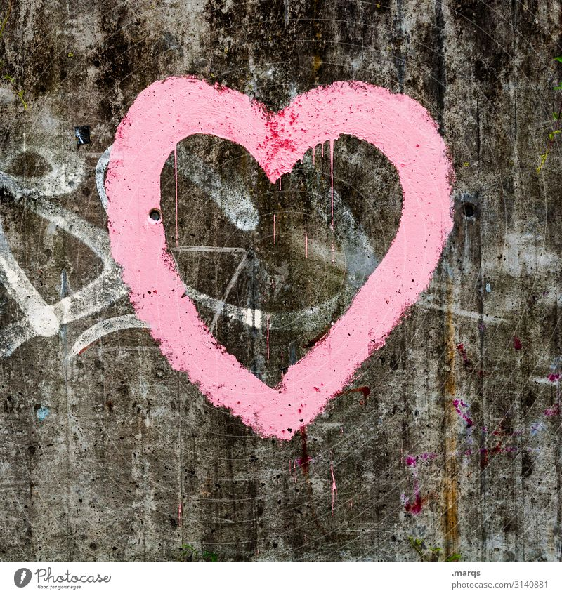 heart Wall (barrier) Wall (building) Concrete Sign Graffiti Heart Trashy Gray Pink Romance Relationship Love Valentine's Day Colour photo Exterior shot Close-up