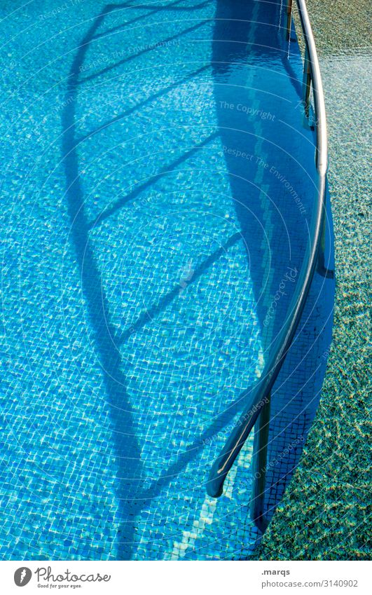 pool swimming pool Swimming pool Tile Handrail Curved Shadow Water Refreshment Summer Light Metal Swimming & Bathing Vacation & Travel Pool border