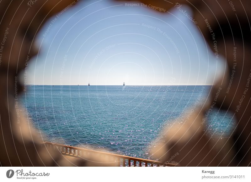 small hole in the wood you can see the blue sea Vacation & Travel Summer Beach Nature Water Horizon Sunlight Warmth Coast Ocean Jump Peace beauty tropical