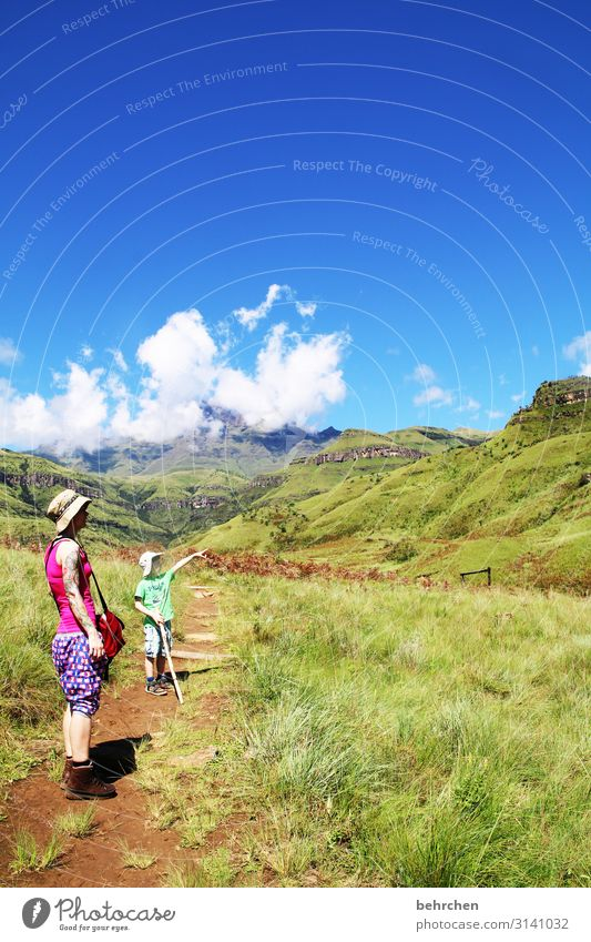 Woman Sky Vacation & Travel Nature Landscape Far-off places Mountain Adults Environment Family & Relations Boy (child) Tourism Exceptional Freedom Trip Hiking