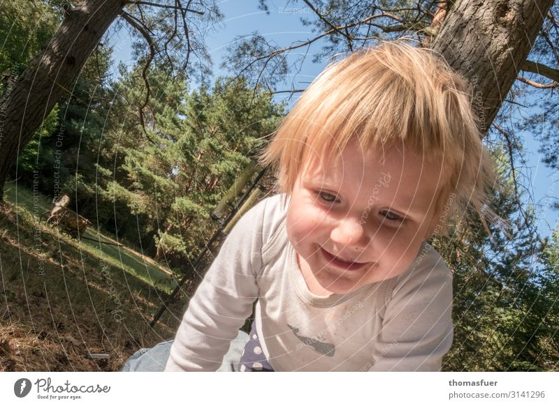 frolicsomely Playing Summer vacation Sun Child Human being Feminine Toddler Girl Head Face 1 1 - 3 years Garden Park Meadow Kneel Crawl Smiling Laughter Romp