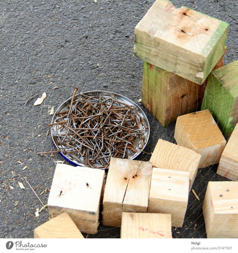 Wooden blocks and many old nails lie on asphalt Metal Work and employment Lie Stand Authentic Sharp-edged Brown Gray Green Determination Beginning Effort