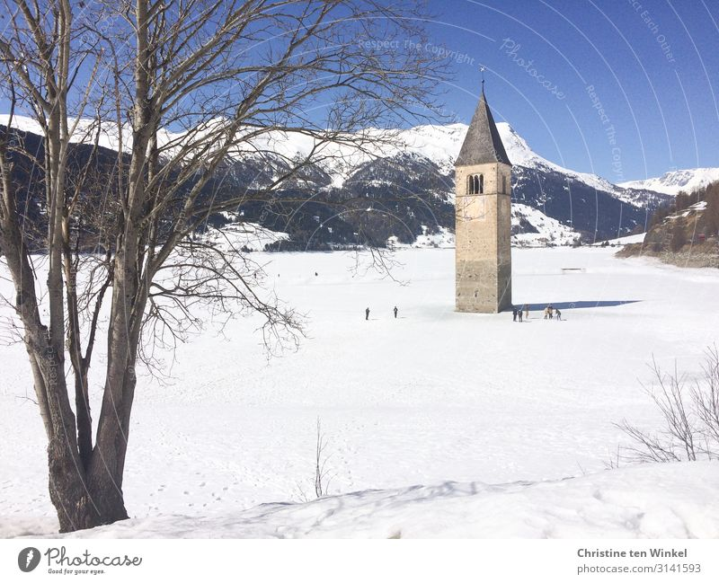 Church tower in the frozen and snowy Reschensee in South Tyrol Vacation & Travel Tourism Winter Snow Winter vacation Mountain Human being Group Nature Landscape