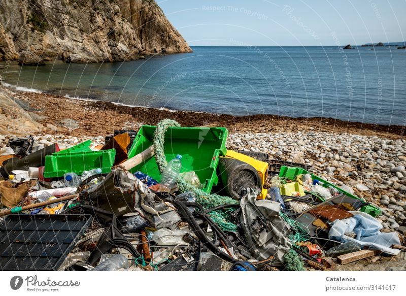 Plastic Trash 2020 | Washed up plastic waste on an idyllic beach bins ropes crates Packing film Beach Ocean Bay flotsam washed ashore Environmental pollution