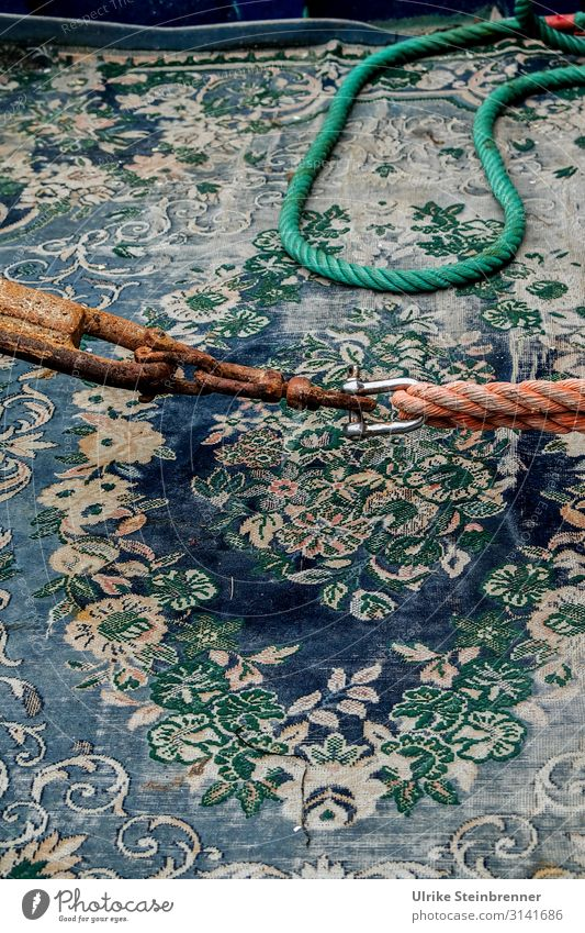 Old carpet on fishing boat with rope Fishing boat boat deck Carpet old carpet Dew Rope shackle Connection Maritime Harbour Navigation fishing cutter Watercraft