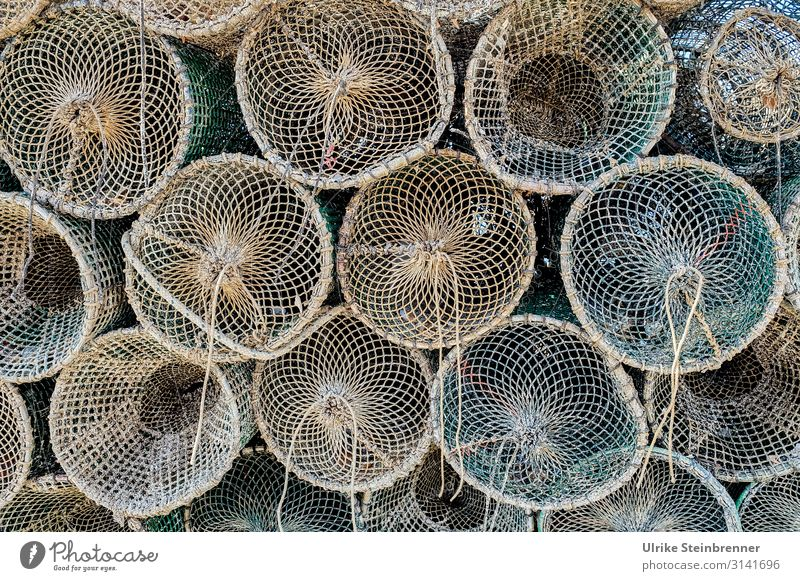 Fish traps stacked on top of each other Rope Plaited Fishing net Net fishing Fishing industry Sardinia Pattern Colour photo Exterior shot Fishery