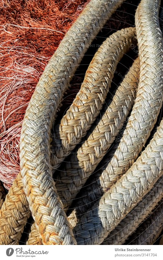 Boat rope in front of fishing net Dew Rope Strick rope Plaited Fishing net Net Fishing industry Navigation Sardinia Pattern Colour photo Exterior shot Fishery