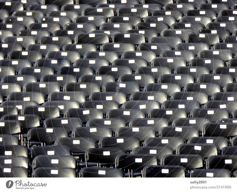 there are still places available... Concert Outdoor festival Sit Black Loneliness Chair Auditorium Empty Free Row of seats Shows Many Colour photo Exterior shot