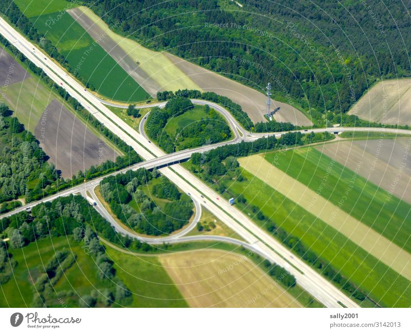Motorway exit... Highway Highway ramp (exit) Street Transport Long distance traffic Traffic infrastructure Driving Road construction Infrastructure Forest Field