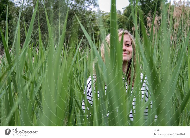 In the reeds Human being Feminine Young woman Youth (Young adults) Nature Plant Joy luck Happiness Contentment Joie de vivre (Vitality) Common Reed Day portrait
