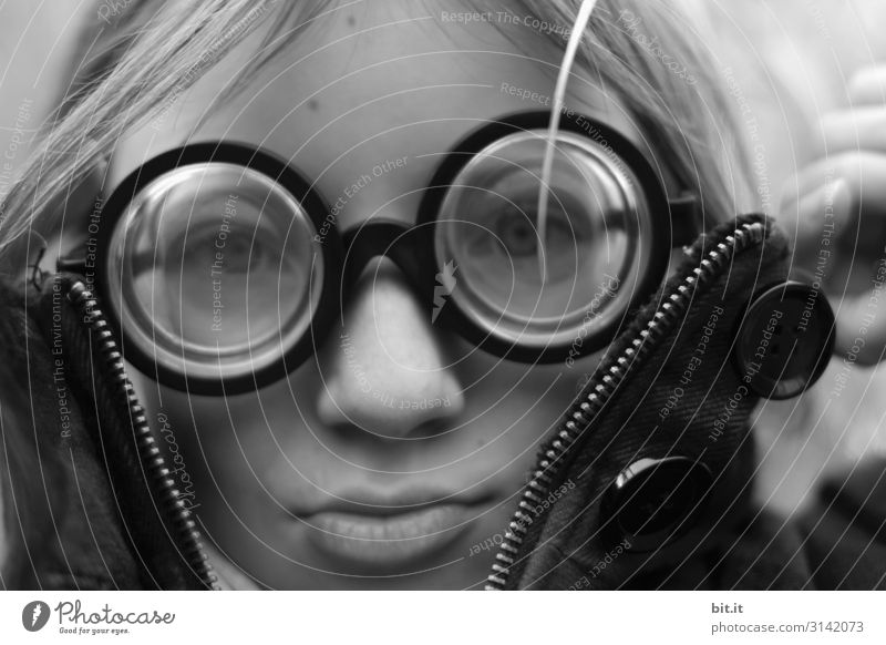 Panzerknackers Junior ll Human being Feminine Child girl Infancy Hip & trendy Funny Crazy horn-rimmed glasses Eyeglasses Four-eyes Person wearing glasses
