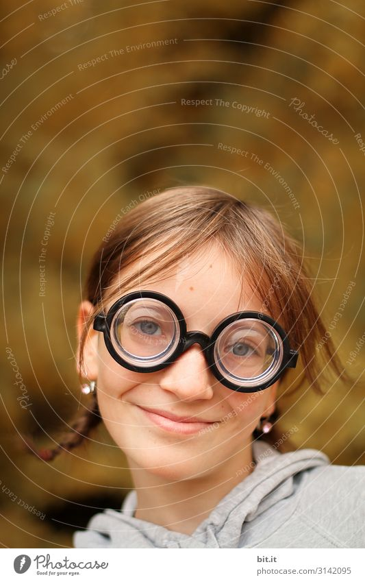 Beware sharp l I see everything. Human being Feminine Child girl Infancy Environment Nature Eyeglasses Hair and hairstyles already Funny Carnival