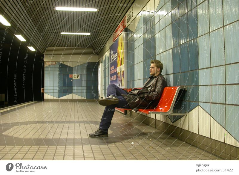 waiting for the train Underground Loneliness Think Man Calm Transport Wait Bench